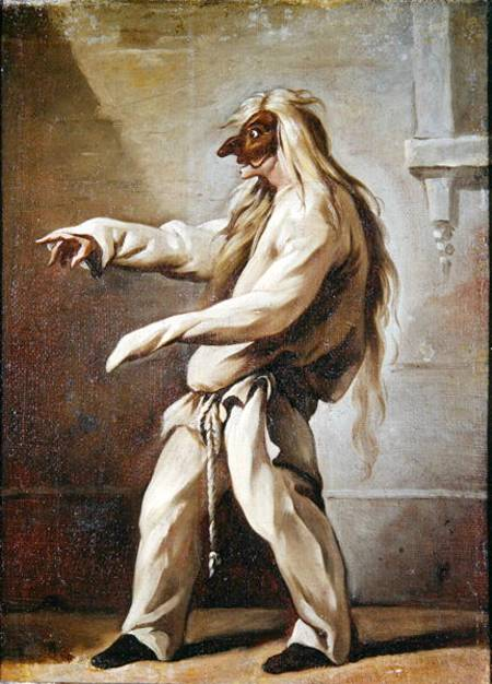 XIR240922 Character from the Commedia dell'Arte (oil on canvas) by Gillot, Claude (1673-1722) oil on canvas Musee Boucher de Perthes, Abbeville, France Lauros / Giraudon French, out of copyright